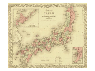1855 Map of Japan, Showing Prefecture Boundaries Photo