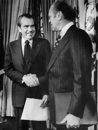 1973 US Presidency, President Richard Nixon Shakes Hands with New Vice President Gerald Ford, 1973 Photo