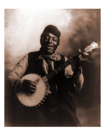 African American Man Seated and Holding Banjo, 1911 Photo
