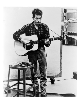 Bob Dylan Playing Guitar and Harmonica into Microphone. 1965 Photo