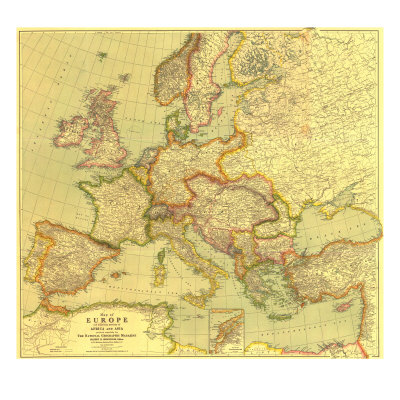 1915 Europe Map with Africa and Asia Posters by  National Geographic Maps