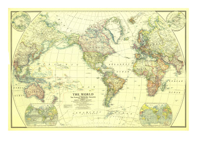 World Map 1922 Kunstdruck