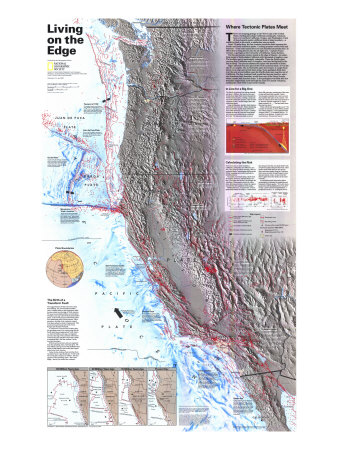 1995 Living on the Edge Map Print by  National Geographic Maps