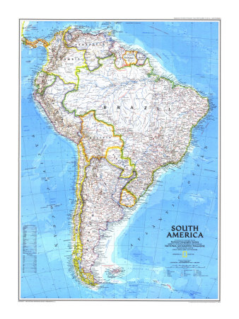 1992 South America Map Poster by  National Geographic Maps