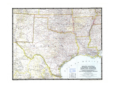 1947 South Central United States Map Art by  National Geographic Maps
