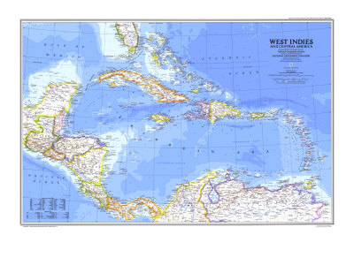 1981 West Indies and Central America Map Poster by  National Geographic Maps