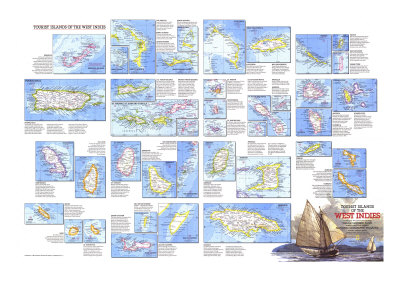 1981 Tourist Islands of the West Indies Map Posters by  National Geographic Maps