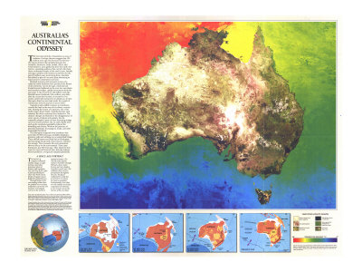 Australia Continental Odyssey Map 1988 Art Print