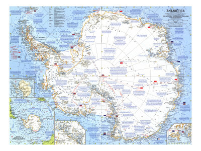 1963 Antarctica Map Posters by  National Geographic Maps