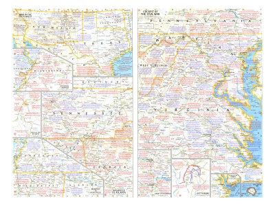 1961 Battlefields of the Civil War Theme Prints by  National Geographic Maps