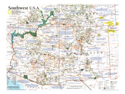 1992 Southwest, USA Map Print by  National Geographic Maps
