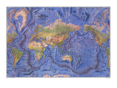 1981 World Ocean Floor Map Print by  National Geographic Maps