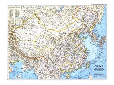 1991 Karta över Kina Poster av  National Geographic Maps