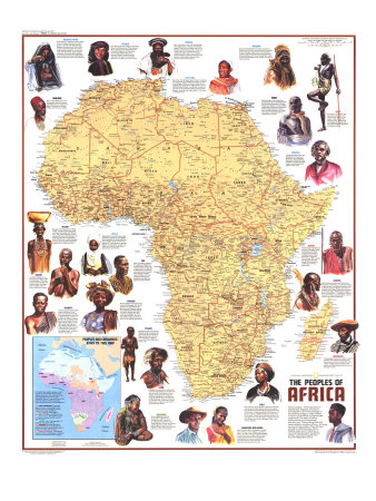Ethnolinguistic Map Of The Peoples Of Africa Map 1971 Art Print