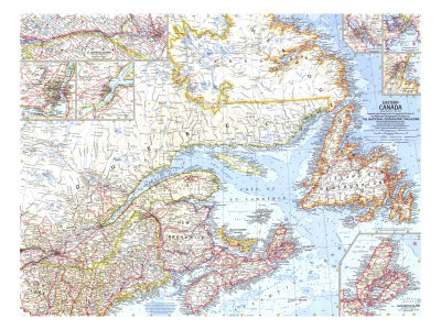 1967 Eastern Canada Map Art by  National Geographic Maps