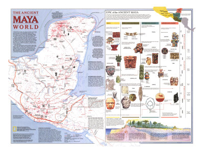 1989 Ancient Maya World Map Posters by  National Geographic Maps