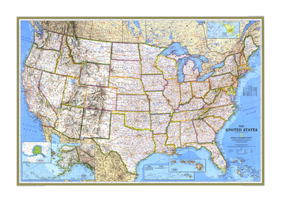 1993 United States Map Poster by  National Geographic Maps