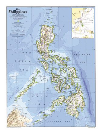 1986 Philippines Map Print by  National Geographic Maps