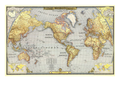 1943 World Map Art by  National Geographic Maps