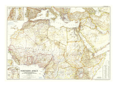 1954 Northern Africa Map Posters by  National Geographic Maps