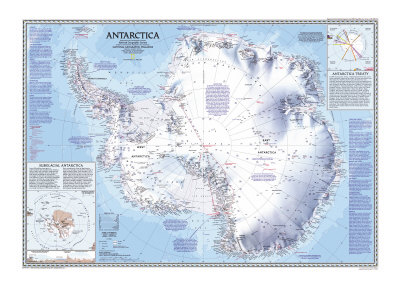 1987 Antarctica Map Plakat af  National Geographic Maps