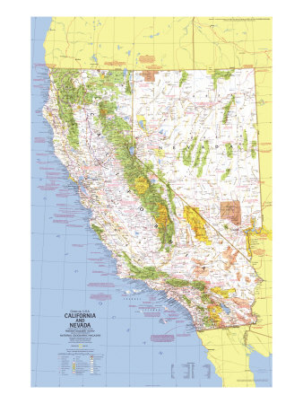 1974 Close-up USA, California and Nevada Map Posters by  National Geographic Maps