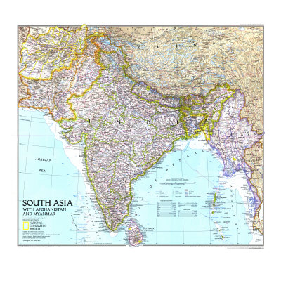 1997 South Asia with Afghanistan and Myanmar Map Print by  National Geographic Maps