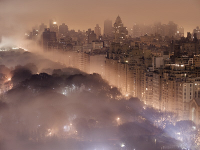 Fog in New York City skyline