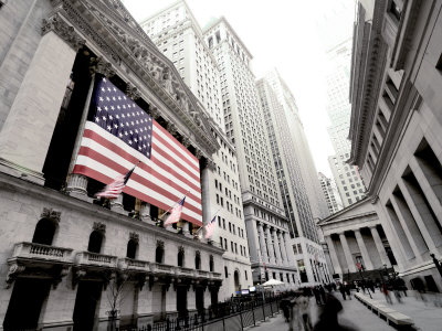 The facade of the New York Stock Exchange draped in the American Flag Photographic Print