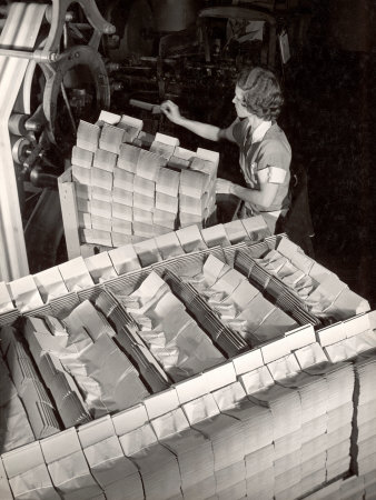 Woman Typing Up Bundles of Paper Bags as They are by Machine Inthe Union Bag and Paper Co. Factory Premium Photographic Print