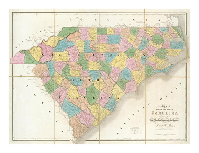 Map of North and South Carolina, c.1839 Print by David H. Burr