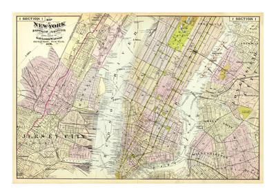 New York, Brooklyn, Jersey City, c.1891 Prints by Frederick W. Beers