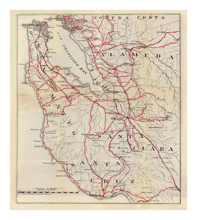 California: San Mateo, Santa Cruz, Santa Clara, Alameda, and Contra Costa Counties, c.1896 Posters by George W. Blum