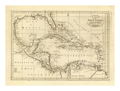 Chart of the West Indies, c.1811 Art Print