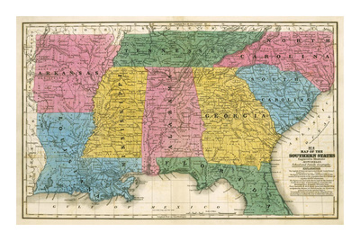 Map of the Southern States, c.1839 Posters by Samuel Augustus Mitchell