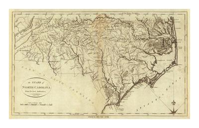 State of North Carolina, c.1796 Poster by John Reid