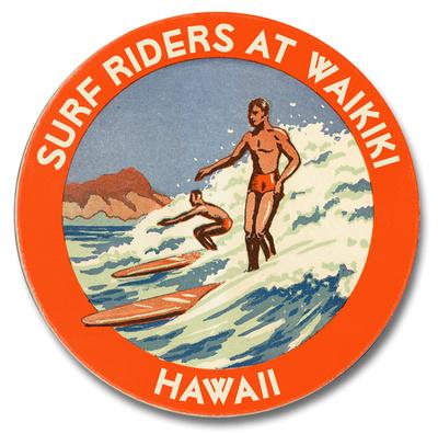 Surf Riders at Waikiki Wood Sign