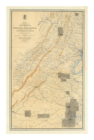 Civil War Map of the Region between Gettysburg and Appomattox Court House, c.1869 Prints