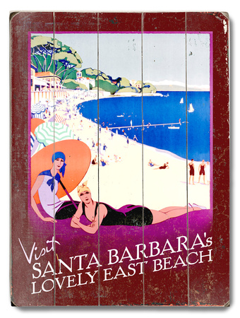 Visit Santa Barbara Wood Sign