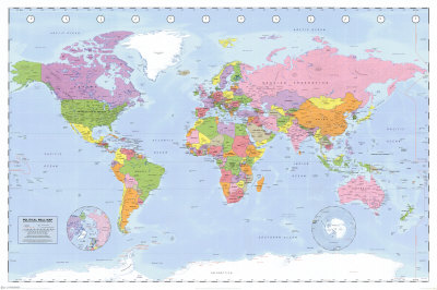 Political World Map - Miller Projection Poster