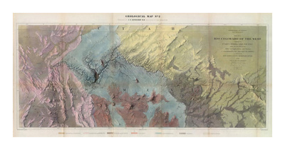 Geological Map, Rio Colorado of the West, c.1858 Print by J. C. Ives