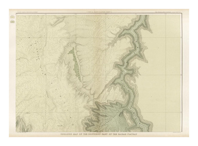 Grand Canyon: Geologic Map of the Southern Kaibab Plateau (Part II, North-East), c.1882 Print by Clarence E. Dutton