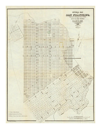 Official Map of San Francisco, c.1851 Posters by William Carey Jones