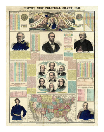 The National Political Chart, Civil War, c.1861 Reproduction d'art