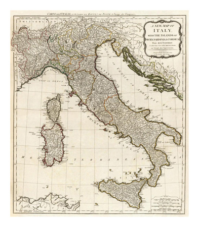 New Map of Italy with the Islands of Sicily, Sardinia and Corsica, c.1790 Posters by Thomas Kitchin