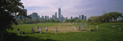 Group of People Playing Baseball in a Park, Grant Park, Chicago, Cook County, Illinois, USA Photographic Print