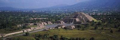 Pyramid on a Landscape, Moon Pyramid, Teotihuacan, Mexico City, Mexico Photographic Print by  Panoramic Images