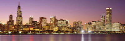 Dusk Skyline Chicago Il, USA Photographic Print by  Panoramic Images