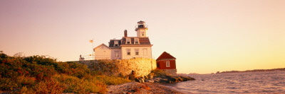 Lighthouse at the Coast, Rose Island Light, Newport, Rhode Island, New England, USA Photographic Print by  Panoramic Images