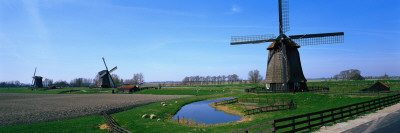 Windmills Near Alkmaar Holland Photographic Print by  Panoramic Images